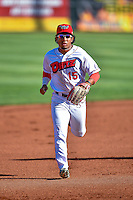 Jahmai Jones (15) of the Orem Owlz during the game against the Grand Junction Rockies in Pioneer League action at Home of the Owlz on July 6, 2016 in Orem, Utah. The Owlz defeated the Rockies 9-1 in Game 1 of the double header.   (Stephen Smith/Four Seam Images)
