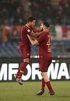 Football, Serie A: AS Roma - Genoa, Olympic stadium, Rome, December 16, 2018. <br /> Roma's Justin Kluivert (l) celebrates after scoring with his teammate Kostas Manolas (r) during the Italian Serie A football match between Roma and Genoa at Rome's Olympic stadium, on December 16, 2018.<br /> UPDATE IMAGES PRESS/Isabella Bonotto