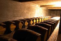 The barrel aging cellar. Bodega Vinos Finos H Stagnari Winery, La Puebla, La Paz, Canelones, Montevideo, Uruguay, South America