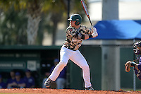 Slippery Rock Adam Urbania (20) during a game against the Kentucky Wesleyan Panthers on March 9, 2015 at Jack Russell Stadium in Clearwater, Florida.  Kentucky Wesleyan defeated Slippery Rock 5-4.  (Mike Janes/Four Seam Images)