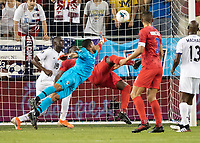 KANSAS CITY, KS - JUNE 26: Panama goalkeeper Jose Calderon #12 reaches for the ball as Jozy Altidore #17 lines up a bicycle kick for the USA's goal during a game between United States and Panama at Children's Mercy Park on June 26, 2019 in Kansas City, Kansas.