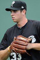 Starting pitcher Steven Matz (33) of the Savannah Sand Gnats before a game against the Greenville Drive on Saturday, July 6, 2013, at Fluor Field at the West End in Greenville, South Carolina. Matz is the No. 29 prospect of the New York Mets, according to Baseball America, and was a second-round pick in the 2009 First-Year Player Draft. Matz pitched a complete-game shutout, giving up just three hits, as Savannah won, 3-0. (Tom Priddy/Four Seam Images)