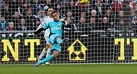 Tuesday 01 January 2013<br /> Pictured: Leon Britton (B) and Michel Vorm (F).<br /> Re: Barclays Premier League, Swansea City FC v Aston Villa at the Liberty Stadium, south Wales.