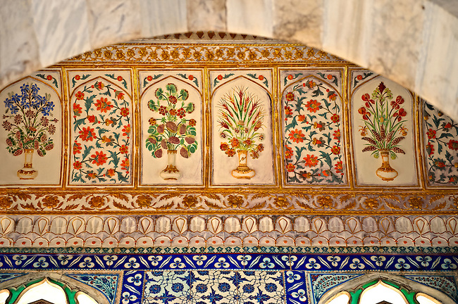 """The Enderûn Library (Enderûn Kütüphanesi), also known as """"Library of Sultan Ahmed III"""" . The walls above the windows are decorated with 16th and 17th century İznik tiles of variegated design and the  dome and vaults are typical of the Tulip period, which lasted from 1703 to 1730.  Tarkapi Palace Istanbul, Turkey"""