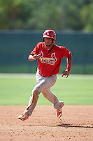 GCL Cardinals catcher Dennis Ortega (49) running the bases during the first game of a doubleheader against the GCL Marlins on August 13, 2016 at Roger Dean Complex in Jupiter, Florida.  GCL Cardinals defeated GCL Marlins 4-2 in a continuation of a game originally started on August 8th.  (Mike Janes/Four Seam Images)