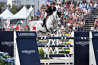 MIAMI BEACH, FL - APRIL 14: Georgina Bloomberg at the Longines Global Champions Tour stop in Miami Beach. The winner was Lorenzo de Luca, second place was Christian Ahlmann and third place was singer Bruce Springsteen's daughter Jessica Rae Springsteen. Also riding but did not make the finals was Georgina Bloomberg and Jennifer Gates on April 14, 2017 in Miami Beach, Florida.<br /> <br /> People:  Georgina Bloomberg