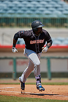 Jupiter Hammerheads first baseman Lazaro Alonso (44) runs to first base during a Florida State League game against the Florida Fire Frogs on April 11, 2019 at Osceola County Stadium in Kissimmee, Florida.  Jupiter defeated Florida 2-0.  (Mike Janes/Four Seam Images)
