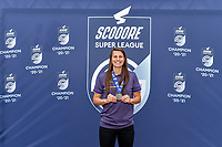 Laura De Neve (8) of Anderlecht pictured during the celebration of their Belgian Scooore Womens Super League 2020 - 2021 title after winning the championship , saturday 5 th of June 2021 in Anderlecht , Belgium . PHOTO SPORTPIX.BE | SPP | STIJN AUDOOREN