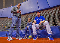 2 April 2016: Toronto Blue Jays First Base Coach Tim Leiper hangs with good friends Kyle & Katie Bostwick prior to a pre-season exhibition game between the Jays and the Boston Red Sox at Olympic Stadium in Montreal, Quebec, Canada. The Red Sox defeated the Blue Jays 7-4 in the second of two MLB weekend games, which saw a two-game series attendance of 106,102 at the former home on the Montreal Expos. Mandatory Credit: Ed Wolfstein Photo *** RAW (NEF) Image File Available ***