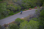 Man cycling in Red Rocks State Park, Colorado