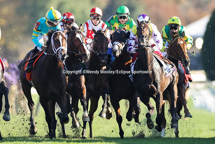 November 6, 2020: Riders collide at the start of the the Juvenile Turf Presented By Coolmore America on Breeders' Cup Championship Friday at Keeneland on November 6, 2020: in Lexington, Kentucky. Wendy Wooley/Breeders' Cup/Eclipse Sportswire/CSM