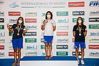 (L to R)CARRARO Martina silver, PILATO Benedetta Gold, CASTIGLIONI Arianna bronze<br /> 50 Breaststroke Women podium<br /> Roma 12/08/2020 Foro Italico <br /> FIN 57 Trofeo Sette Colli - Campionati Assoluti 2020 Internazionali d'Italia<br /> Photo Giorgio Scala/DBM/Insidefoto