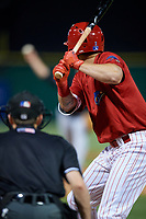 Clearwater Threshers center fielder Mickey Moniak (2) at bat during a game against the Jupiter Hammerheads on April 12, 2018 at Spectrum Field in Clearwater, Florida.  Jupiter defeated Clearwater 8-4.  (Mike Janes/Four Seam Images)