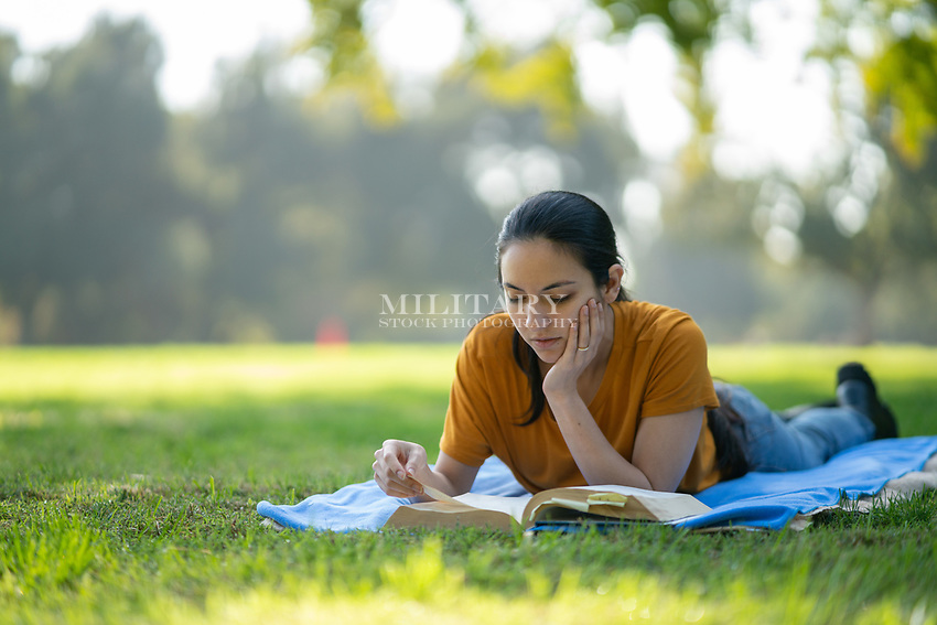 Woman, at park  model-released, stock photo, DoD compliant, for sale, for advertising