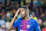 Ousmane Dembele of FC Barcelona gestures after winning the La Liga match between FC Barcelona vs RCD Espanyol at the Camp Nou on 09 September 2017 in Barcelona, Spain. Photo by Vicens Gimenez / Power Sport Images