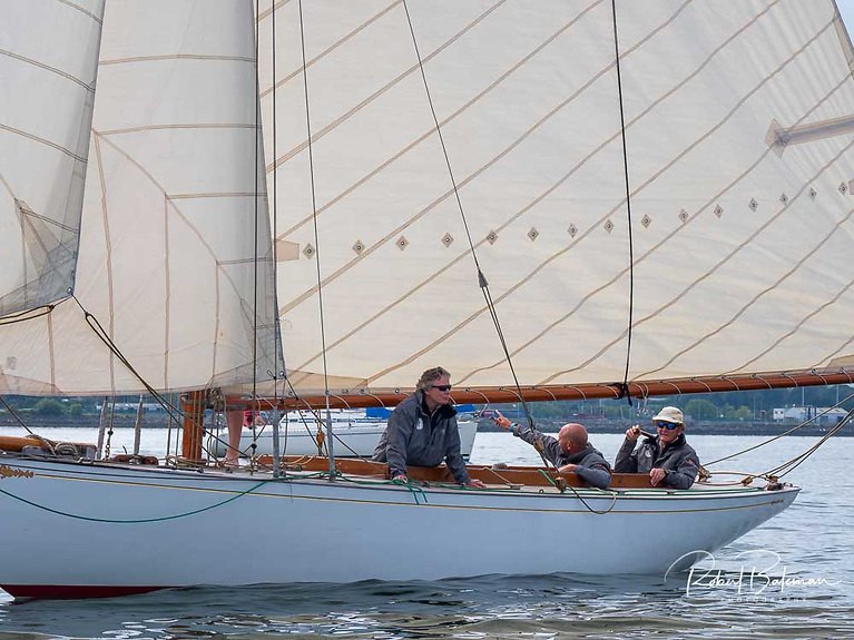 Harold Cudmore at the helm of Jap in August during the Cork 300 celebrations in Cork Harbour Photo: Bob Bateman