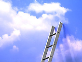 Ladder leaning on wall mapped with sky
