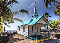 "St. Peter's By The Sea Catholic Church a.k.a. ""Little Blue Church"" in Kailua-Kona, Big Island."