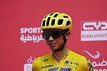 Colombian Champion Sergio Andres Higuita Garcia (COL) EF Education-Nippo at sign on before the start of Stage 6 of the 2021 UAE Tour running 165km from Deira Island to Palm Jumeirah, Dubai, UAE. 26th February 2021.  <br /> Picture: Eoin Clarke   Cyclefile<br /> <br /> All photos usage must carry mandatory copyright credit (© Cyclefile   Eoin Clarke)