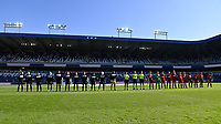 team line ups ahead of pictured during a female soccer game between RSC Anderlecht Dames and Standard Femina de Liege on the sixth matchday of the 2021 - 2022 season of Belgian Womens Super League , saturday 9 th of October 2021  in Brussels , Belgium . PHOTO SPORTPIX | DAVID CATRY