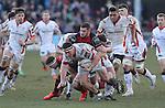 Dragons flanker James Thomas tackles Ulster hooker Rob Herring.<br /> Guinness Pro12<br /> Gwent Dragons v Ulster<br /> 08.03.15<br /> ©Steve Pope - SPORTINGWALES