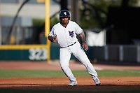 Lazaro Leal (30) of the Winston-Salem Dash takes his lead off of first base against the Hudson Valley Renegades at Truist Stadium on August 28, 2021 in Winston-Salem, North Carolina. (Brian Westerholt/Four Seam Images)