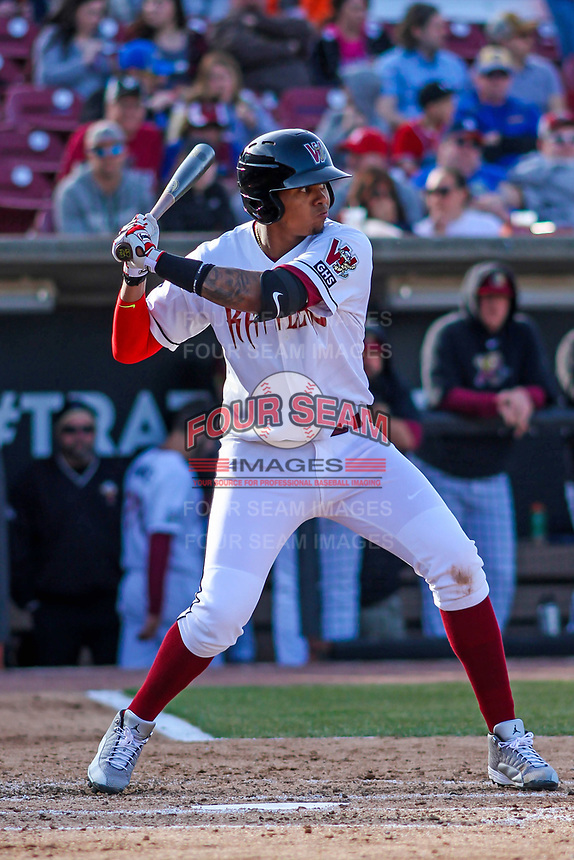 Wisconsin Timber Rattlers shortstop Gilbert Lara (11) at the plate during a Midwest League game against the Quad Cities River Bandits on April 8, 2017 at Fox Cities Stadium in Appleton, Wisconsin.  Wisconsin defeated Quad Cities 3-2. (Brad Krause/Four Seam Images)
