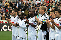 Pictured: (L-R) Angel Rangel, Nathan Dyer, Leroy Lita, Garry Monk, Michel Vorm, Joe Allen and Neil Taylor of Swansea City. Saturday 17 September 2011<br /> Re: Premiership football Swansea City FC v West Bromwich Albion at the Liberty Stadium, south Wales.