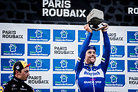 Podium with Philippe GILBERT (BEL/Deceuninck-Quick Step) who wins his first Roubaix and is now 1 win away of having won ALL 5 Monument Classics (Milano-Sanremo still missing from his list)<br /> <br /> podium:<br /> <br /> 1st place - Philippe Gilbert (BEL/Deceuninck Quick Step)<br /> 3th place - Yves Lampaert (BEL/Deceuninck Quick Step)<br /> <br /> <br /> <br /> 117th Paris-Roubaix (1.UWT)<br /> 1 Day Race: Compiègne-Roubaix (257km)<br /> <br /> ©kramon