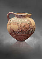 Spherical jug spiral and floral decorated. Early Cycladic I (1650-1550 BC); Phylakopi; Melos. National Archaeological Museum Athens. Cat No 5818.  Gray background.<br /> <br /> <br /> During this Cycladic period the pottery designs were heavily influenced by Cretean minoan with pottery.