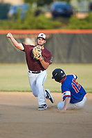 Kannapolis Post 115 second baseman Aaron Oakley (7) turns a double play as Sam Crowe (15) of Mooresville Post 66 slides into second base during an American Legion baseball game at Northwest Cabarrus High School on May 30, 2019 in Concord, North Carolina. Mooresville Post 66 defeated Kannapolis Post 115 4-3. (Brian Westerholt/Four Seam Images)