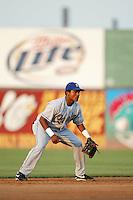 Erick Aybar of the Rancho Cucamonga Quakes at shortstop during a 2004 season California League game at The Hanger in Lancaster, California. (Larry Goren/Four Seam Images)
