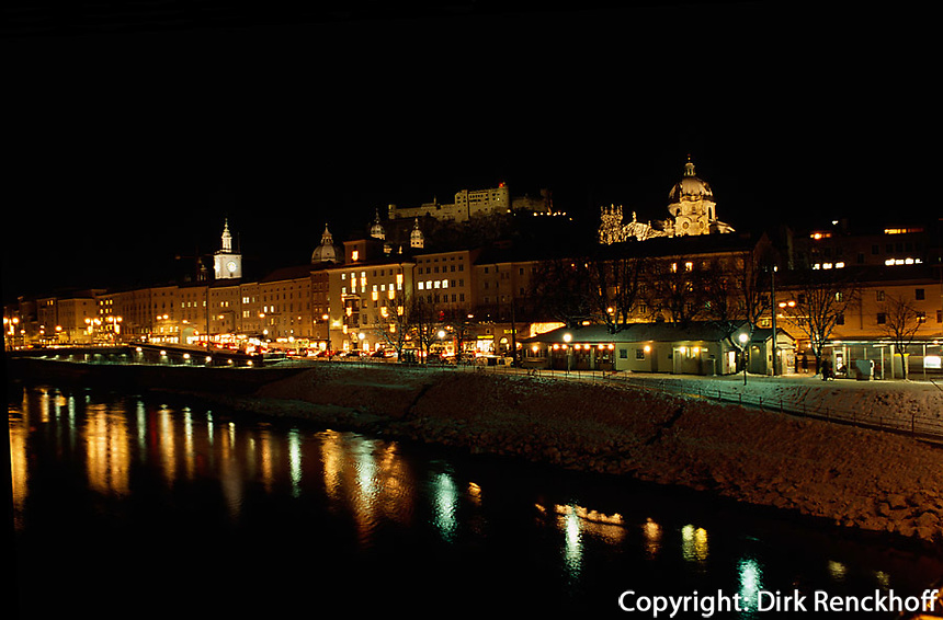 Salzach und Altstadt in  Salzburg, Österreich