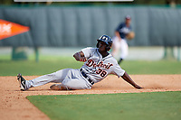 Detroit Tigers Daz Cameron (38) slides into second base during an Instructional League game against the Atlanta Braves on October 10, 2017 at the ESPN Wide World of Sports Complex in Orlando, Florida.  (Mike Janes/Four Seam Images)