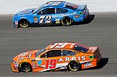 #19: Daniel Suarez, Joe Gibbs Racing, Toyota Camry ARRIS and #72: Corey LaJoie, TriStar Motorsports, Chevrolet Camaro Dragonchain