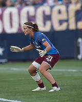 Sweden goalkeeper Sofia Lundgren (21). The US Women's national team beat Sweden, 3-0, at Rentschler Field on July 17, 2010.