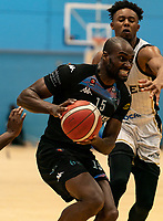 Tayo Ogedengbe of Surrey Scorchers drives forward during the BBL Championship match between Surrey Scorchers and Newcastle Eagles at Surrey Sports Park, Guildford, England on 20 March 2021. Photo by Liam McAvoy.