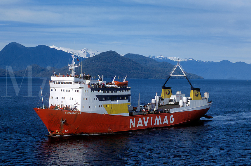 NAVIMAG FERRY EVANGALISTAS on route from PUERTO MONTT to PUERTO NATALES - PATAGONIA, CHILE
