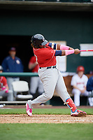 New Hampshire Fisher Cats third baseman Vladimir Guerrero Jr. (27) swings at a pitch during the first game of a doubleheader against the Harrisburg Senators on May 13, 2018 at FNB Field in Harrisburg, Pennsylvania.  New Hampshire defeated Harrisburg 6-1.  (Mike Janes/Four Seam Images)