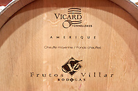 barrel with stamp vicard amerique bodegas frutos villar , cigales spain castile and leon