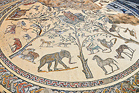 Roman mosaic from The House of Orpheus showing Orpheus playing a lute in the centre with wild African animals surrounding him. From the triclinium or the dining room of the villa. Volubilis Archaeological Site, near Meknes, Morocco