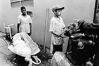 """Brazil. Sao Paulo state. Sao Paulo. Two young boys and a wheelbarrow full of plastic to sell at """"El Gringo"""". The """"catadores"""" are men who collect paper, metals, bottles ... in order to sell these items as recycled materials and make a living. """"El Gringo"""" is a buy-off center. Every day, it buys these recycled products to hundreds of men, all waste collectors, then resells them to various industrial factories. © 1994 Didier Ruef .."""