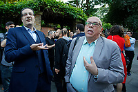 Pictured: Syriza party MP Kostas Douzinas (R) argues with a Greek protester oustside the Hellenic Centre in London, UK. Monday 25 June 2018<br /> Re: Greek Prime Minister Alexis Tsipras is on a three day visit to London, UK.