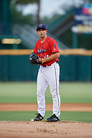 Jacksonville Jumbo Shrimp starting pitcher Cody Poteet (20) gets ready to deliver a pitch during a game against the Biloxi Shuckers on June 8, 2018 at Baseball Grounds of Jacksonville in Jacksonville, Florida.  Biloxi defeated Jacksonville 5-3.  (Mike Janes/Four Seam Images)
