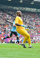 July 26, 2012..UAE's Ali Khaseif (1). UAE vs Uruguay Football match during 2012 Olympic Games at Old Trafford in Manchester, England. Uruguay defeat United Arab Emirates 2-1...