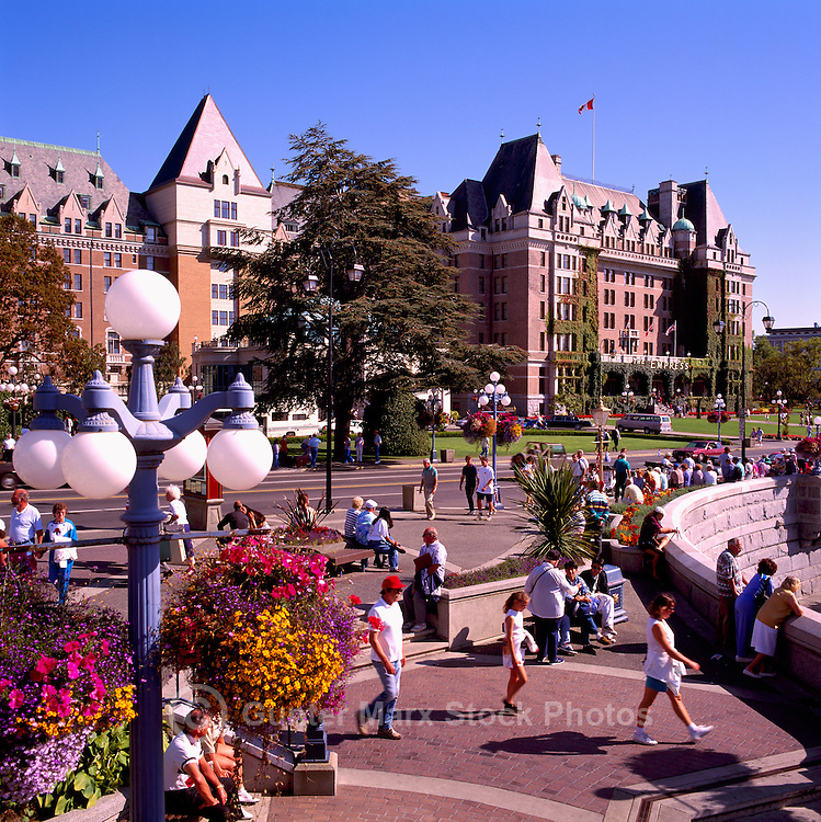 Victoria, BC, Vancouver Island, British Columbia, Canada - Fairmont Empress Hotel and The Upper Causeway along the Inner Harbour