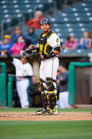 Jose Briceno (10) of the Salt Lake Bees during the game against the Albuquerque Isotopes at Smith's Ballpark on April 24, 2019 in Salt Lake City, Utah. The Isotopes defeated the Bees 5-4. (Stephen Smith/Four Seam Images)