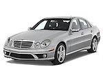 Front three quarter view of a 2008 Mercedes E63 Sedan.