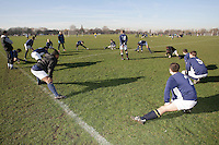 Wounded Knee FC footballers warm up prior to kick-off of their Hackney & Leyton Sunday League match at Hackney Marshes - 10/02/08 - MANDATORY CREDIT: Gavin Ellis/TGSPHOTO - Self billing applies where appropriate - Tel: 0845 094 6026