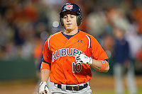 Dan Gamache #10 of the Auburn Tigers after hitting a 2-run home run in the top of the 2nd inning against the Alabama Crimson Tide at Riverwalk Park on March 15, 2011 in Montgomery, Alabama.  Photo by Brian Westerholt / Four Seam Images